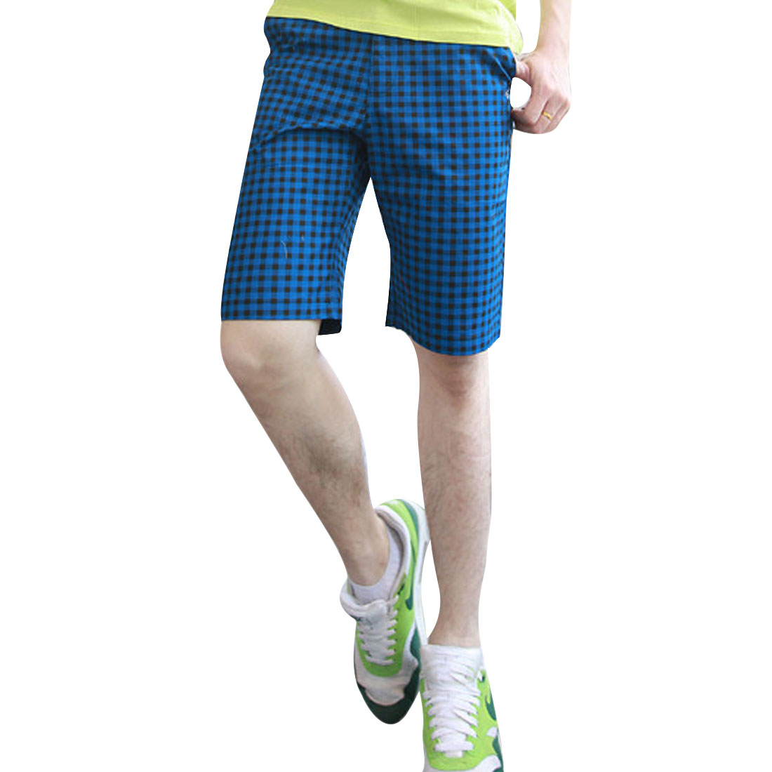 Men Flap Hip Pockets Plaids Prints Zipper Shorts Peacock Blue W33