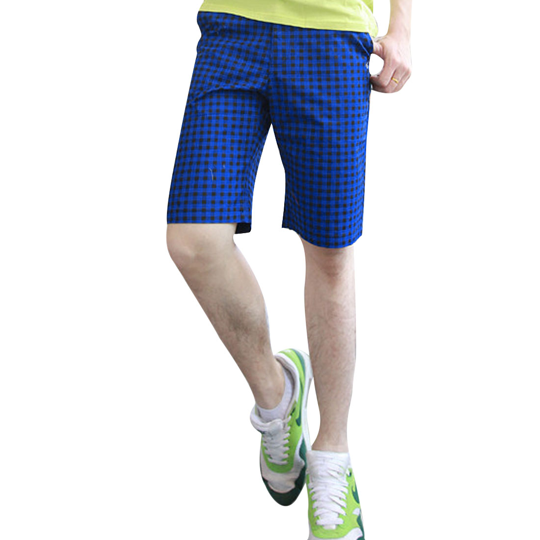 Men Stretchy Buttoned Hip Pockets Zipper Fly Short Pants Royal Blue W33