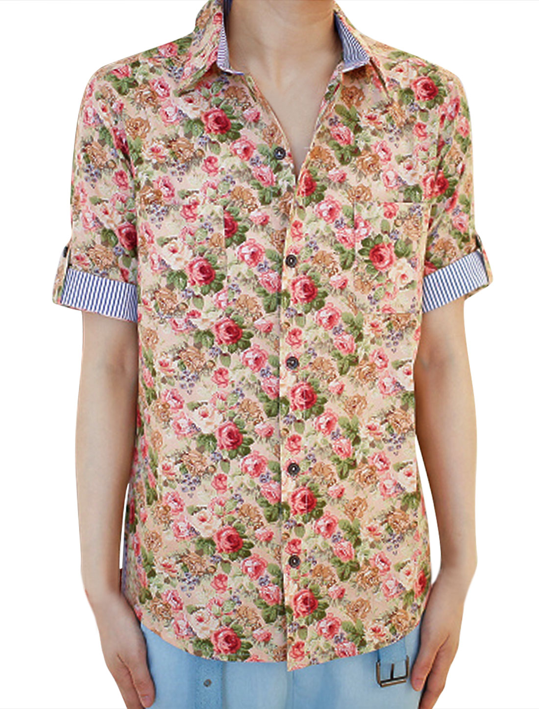 Men Pink Floral Patten Point Collar Chest Pocket Button Up Shirt S