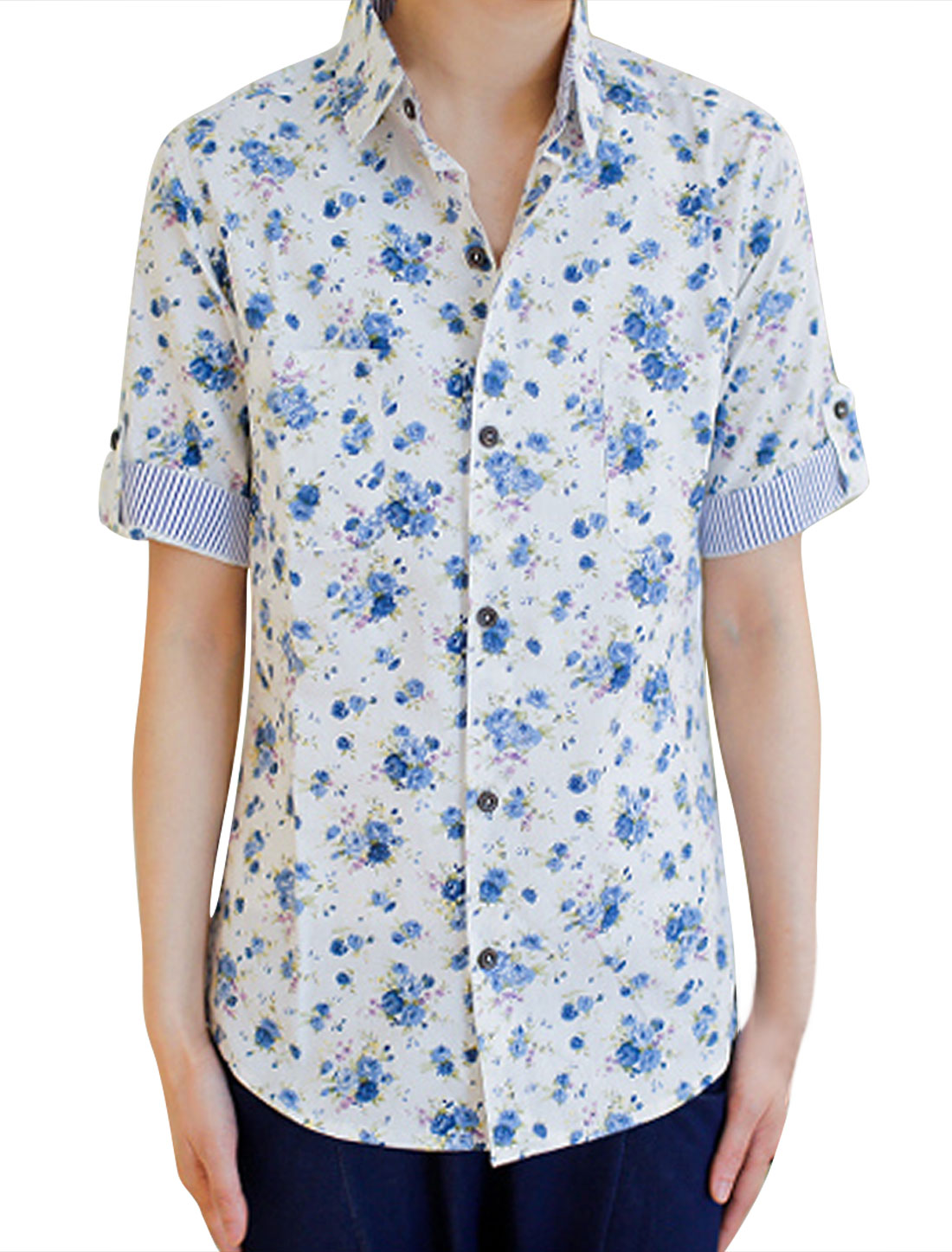 Men White Blue Floral Patten Single Breasted Button Up Shirt M