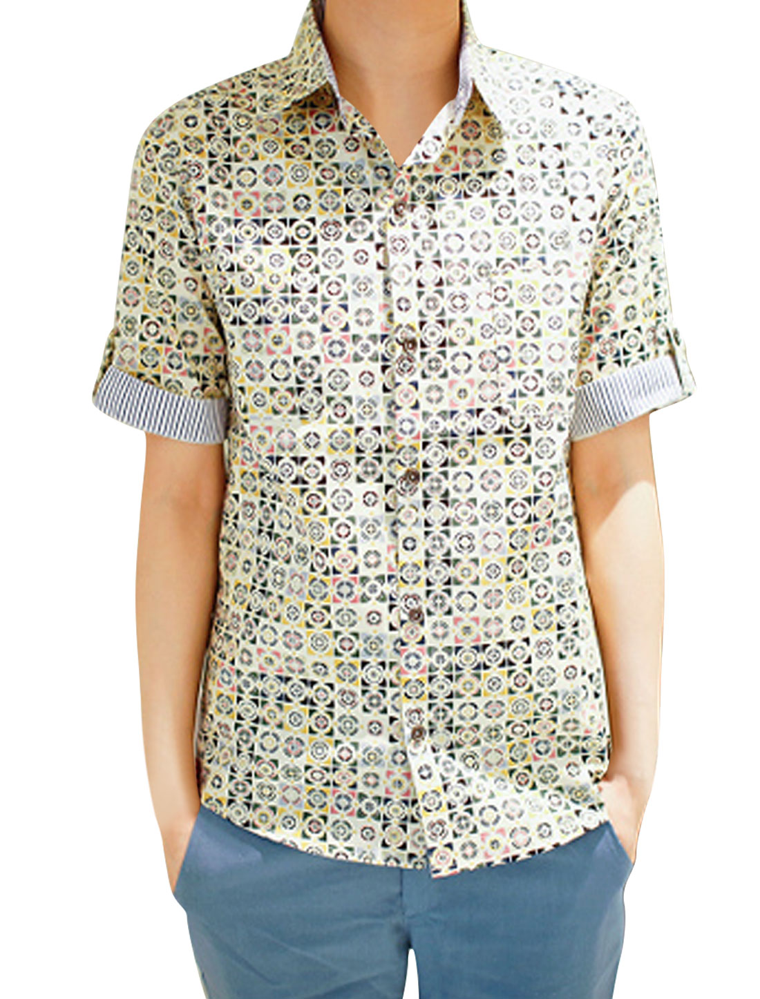 Men Multi-Color Piont Collar Circles Patten Chest Pocket Shirt M