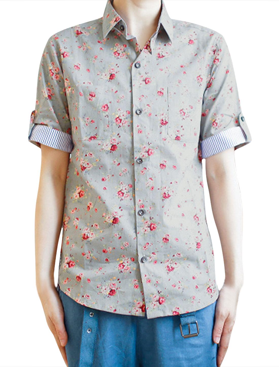 Men Gray Red Button-Front Flower Design Cuffs Collar Stripe Shirt M