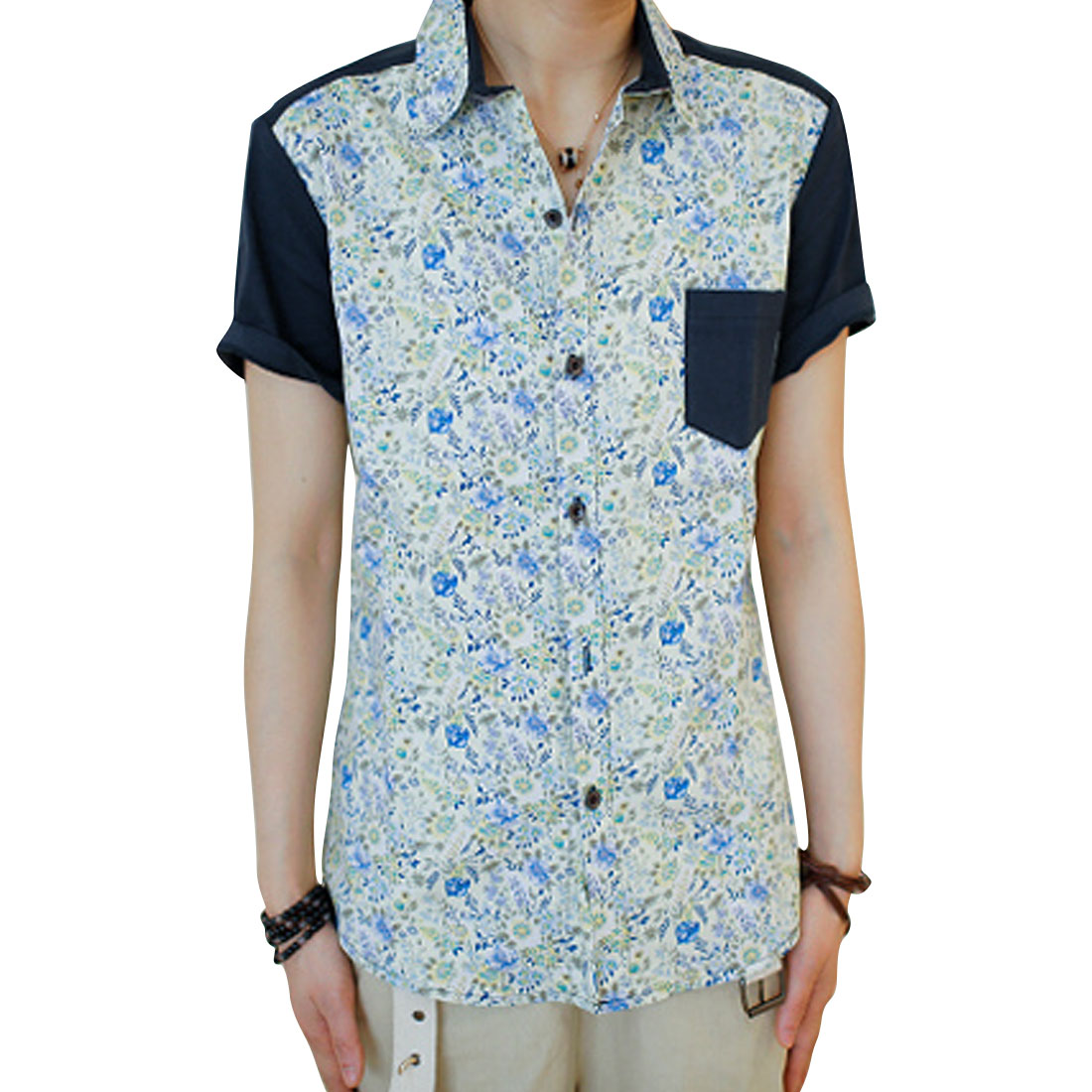 Men Beige Blue Single Breasted Floral Patten Button Up Shirt S