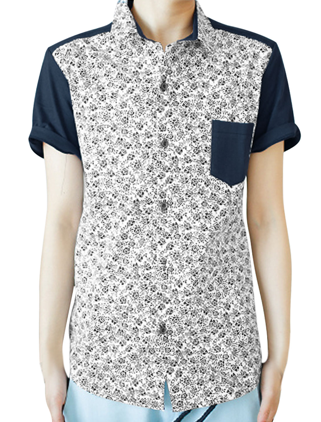 Men White Point Collar Dark Blue Flower Design Shirt S