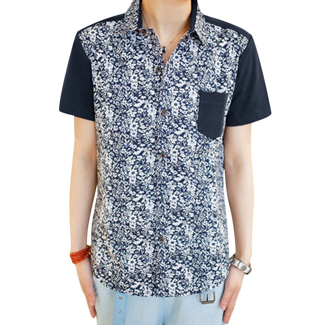 Men Dark Blue Floral Patten Point Collar Chest Pocket Shirt S