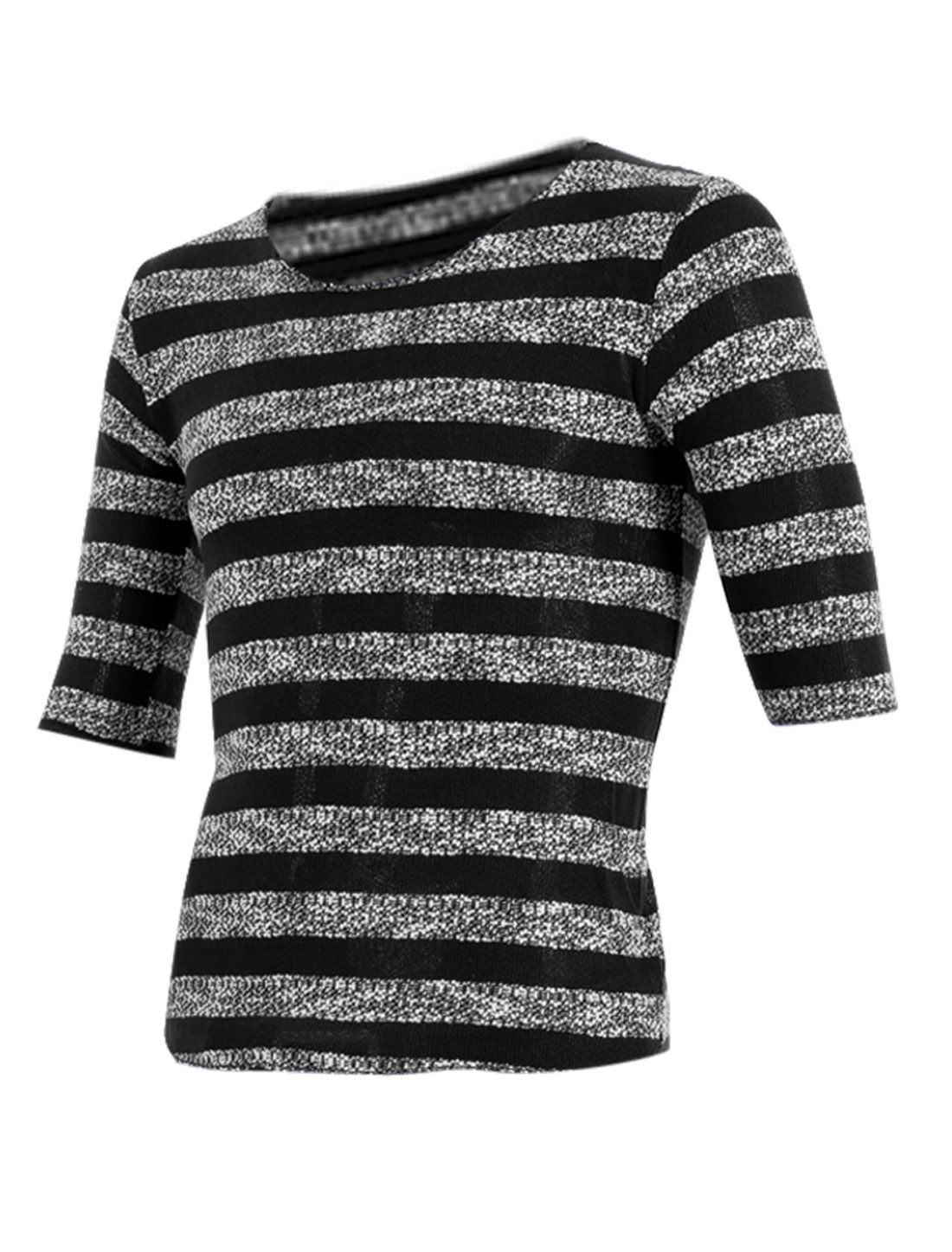 Men Personalized Round Neck Stretchy Knitting Shirt Black M