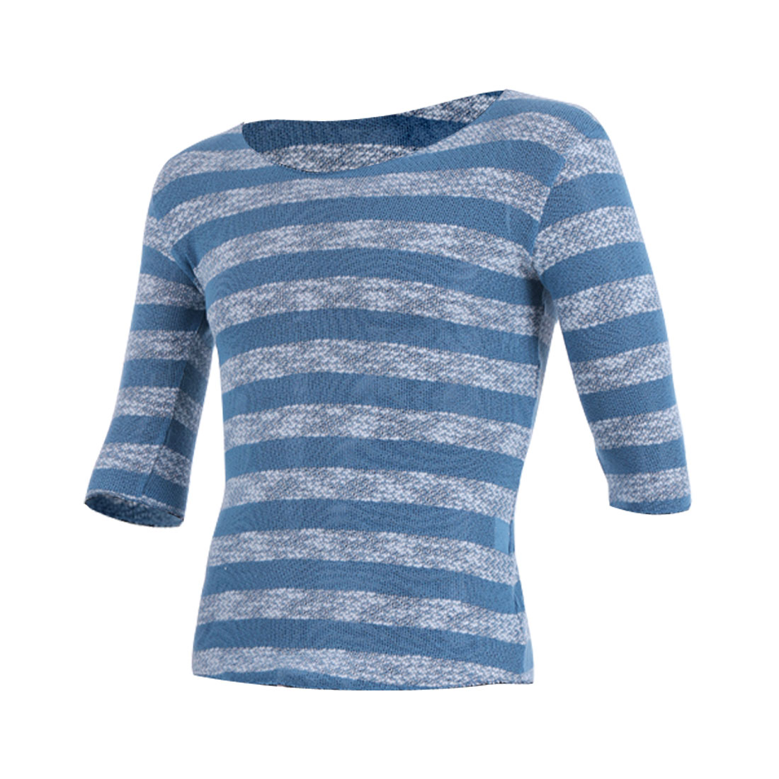 Man Round Neck Half Sleeves Striped Stretchy Knit Shirt Lake Blue M