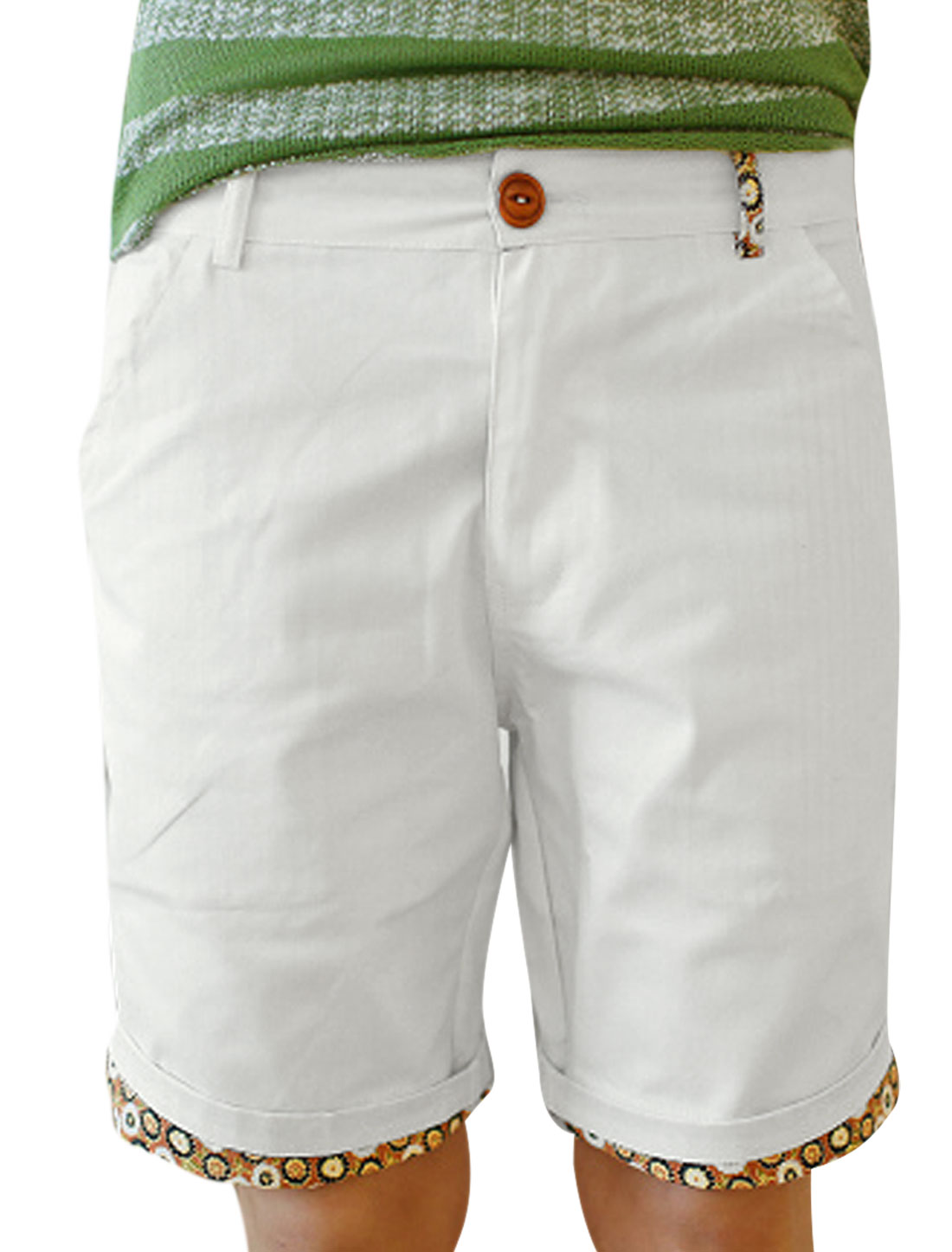 Man Stylish Slant Pockets Casual Floral Details Shorts White W33