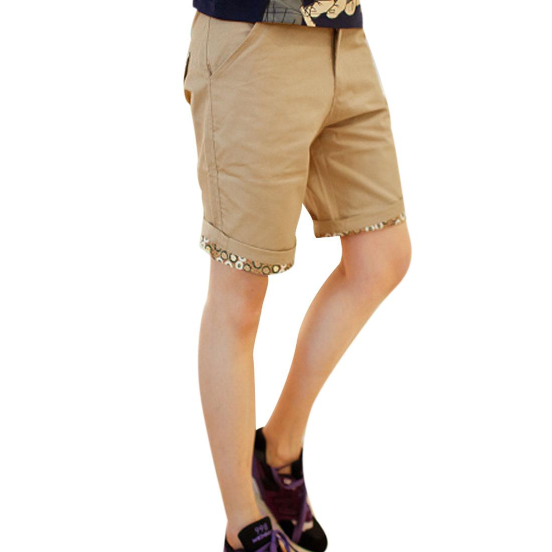 Man Floral Pattern Details Buttoned Pockets Shorts Khaki W33