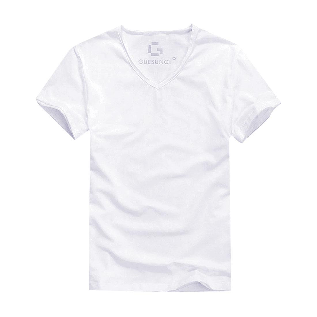Man V Neck Destroyed Details Short Sleeve Fashional Shirt White M
