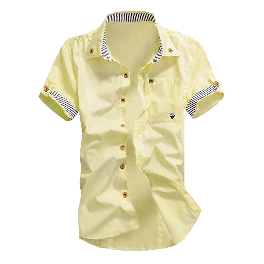 Man Korean Style Short Sleeves Point Collar Chic Shirt Light Yellow M