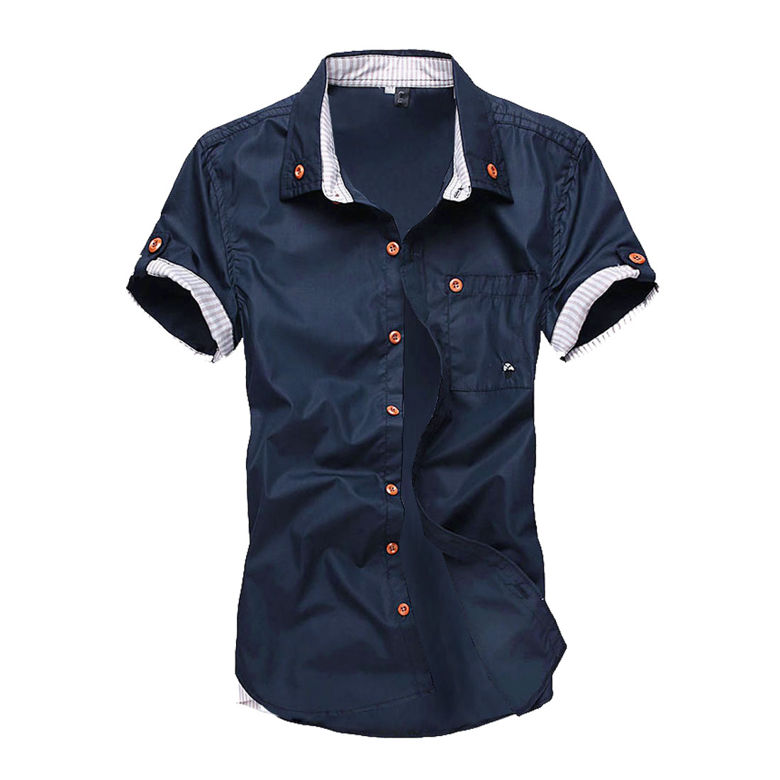 Men Spliced Pocket Buttons Front Short-sleeved Shirt Dark Blue M