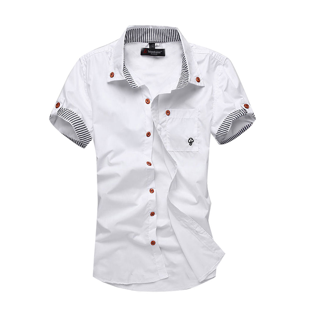 Man Stylish Buttons Front Stripes Details Modern Shirt White M