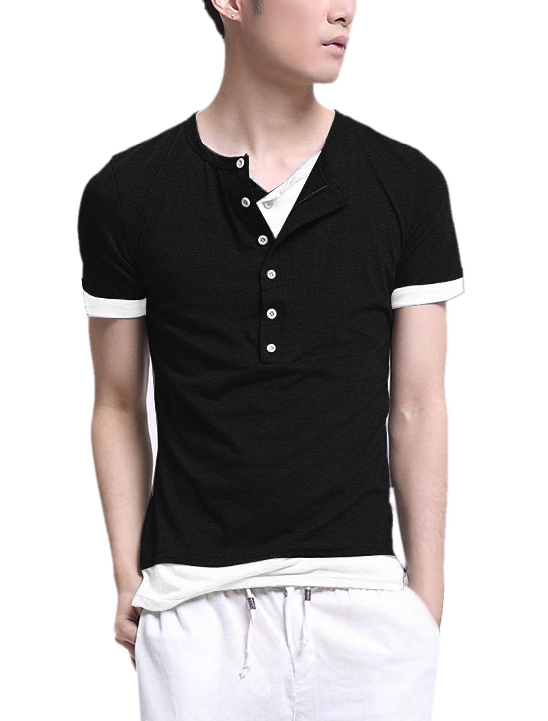 Men Round Neck Button Closure Up Short Sleeve Shirt Black White S