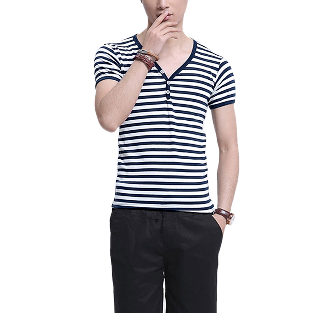 Men Personalized Stretchy Stripes Leisure Tops Shirt Dark Blue S
