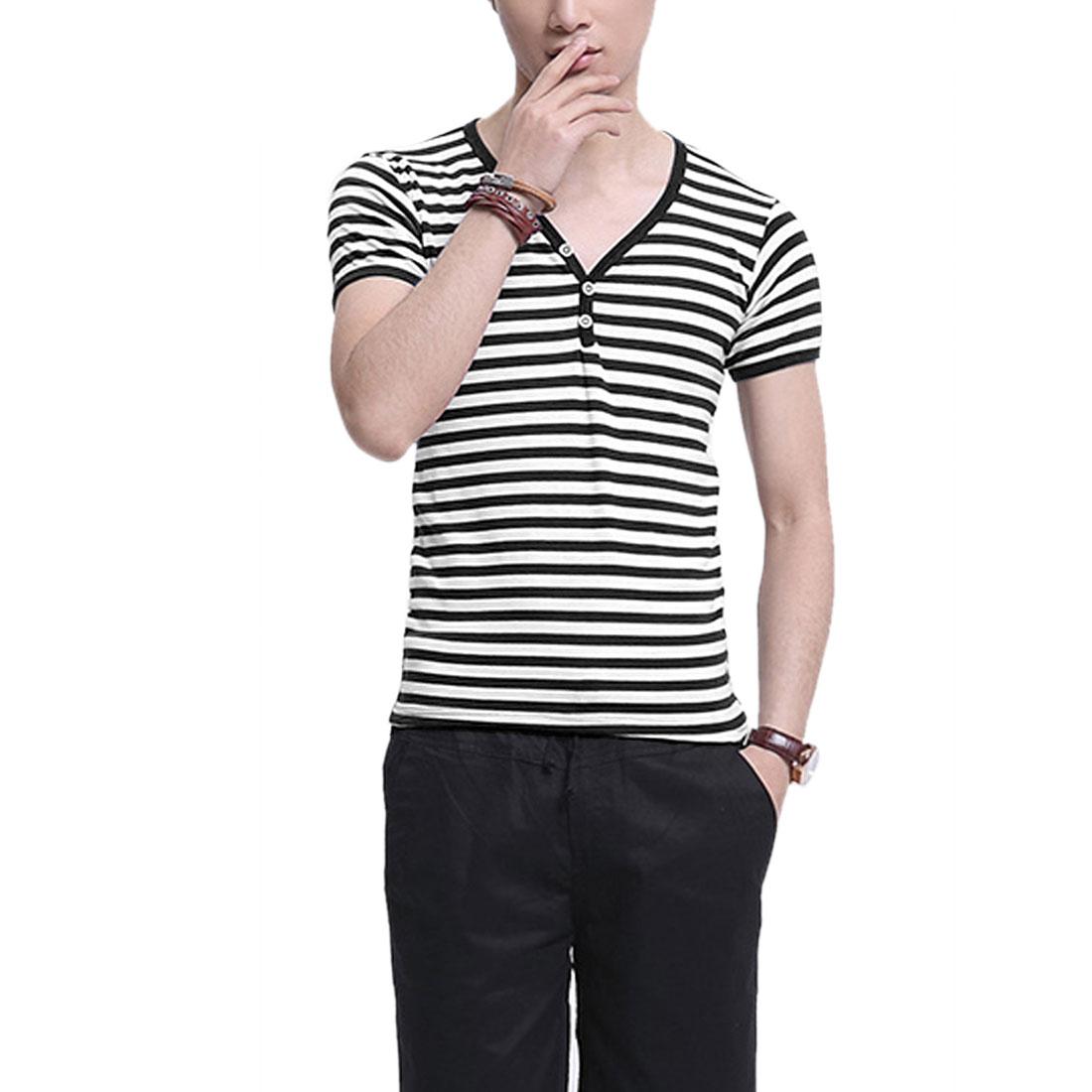 Man Buttons Decor Stripes Pattern V Neck Modern Shirts Black S