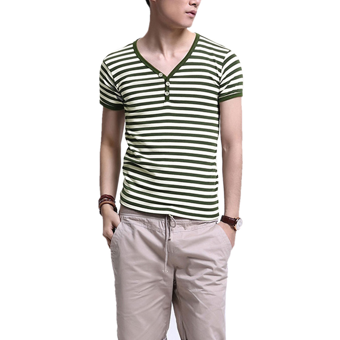 Men Stylish Striped Prints Stretch Short-sleeved Shirt Olive Green S