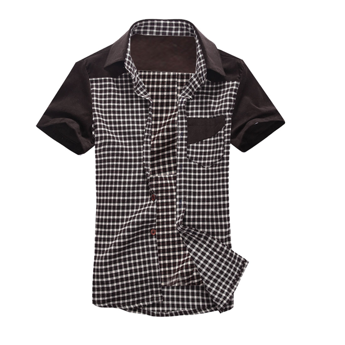 Man Breast Pockets Plaids Button-Front Corduroy Shirt Coffee M