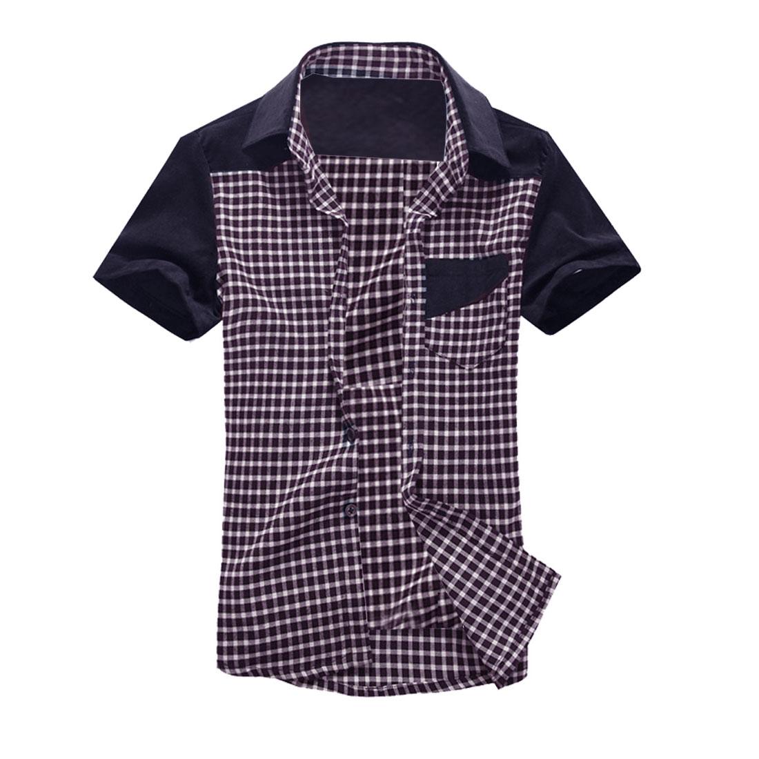 Men Plaids Splice Short-sleeved Pocket Fashional Shirts Red M