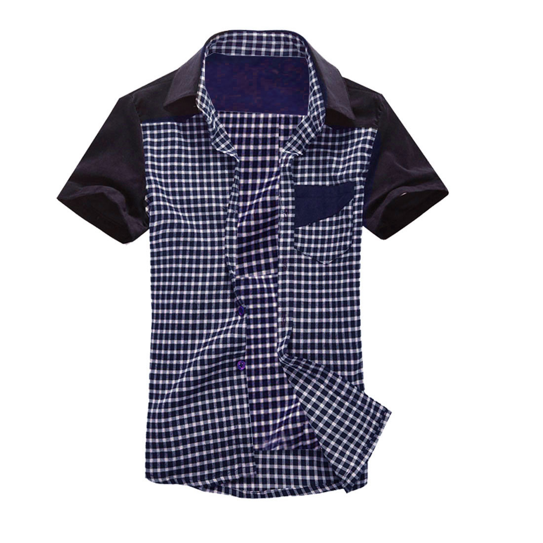 Man Breasted Pockets Plaids Button-Front Shirt Dark Blue M