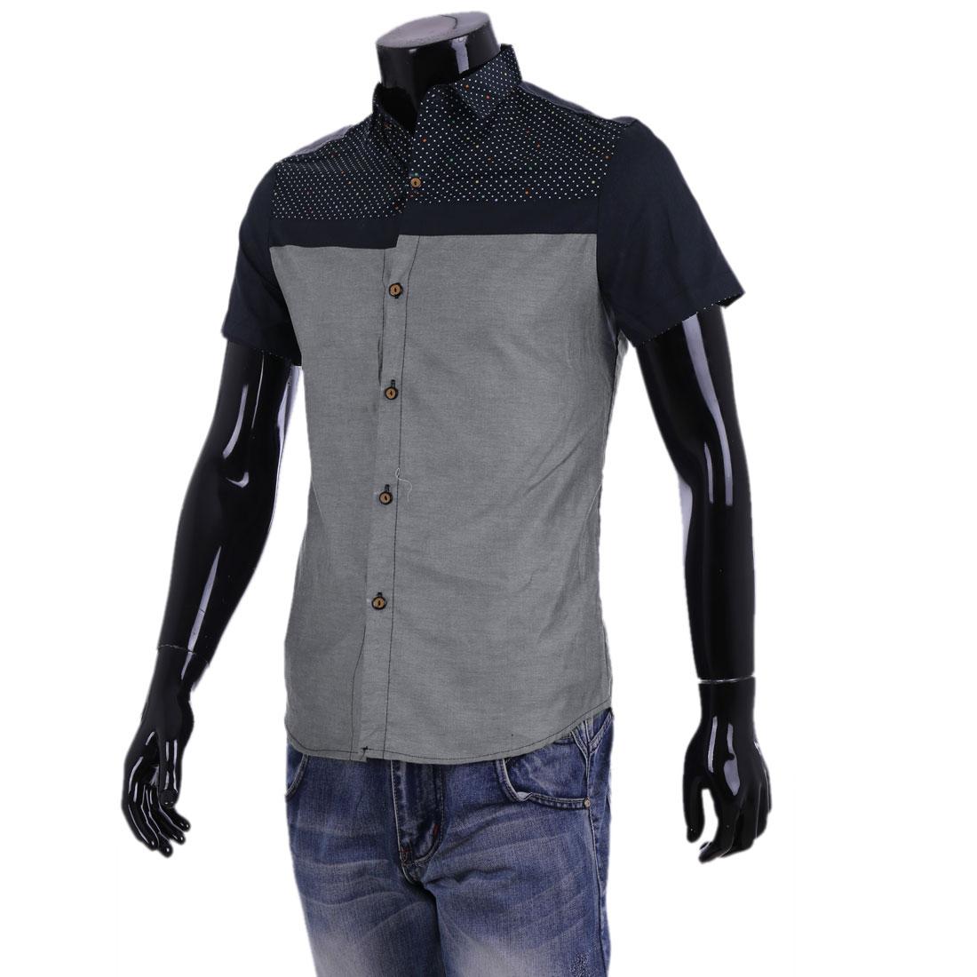 Men Point Collar Button Up Dots Shirt Light Gray Navy Blue M