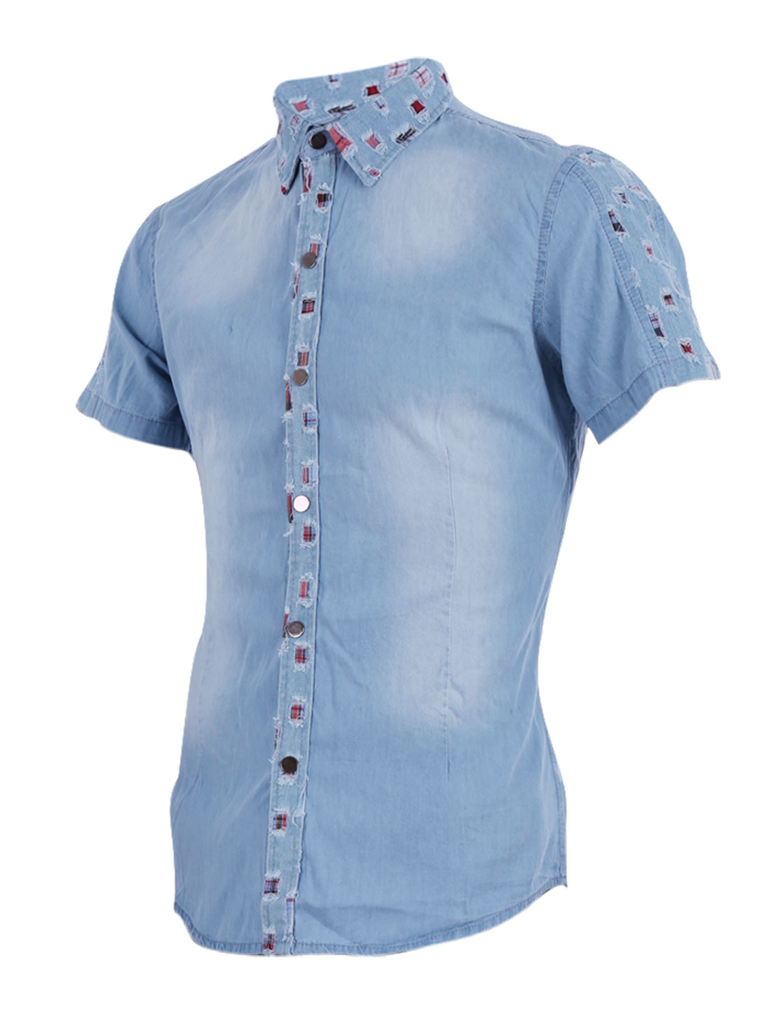 Men Button Front Point Collar Short Sleeve Summer Casual Shirt M Sky Blue