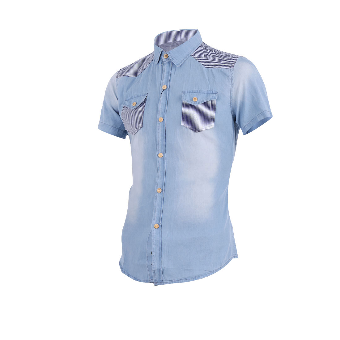 Men Short Sleeve Point Collar Two Chest Pockets Summer Shirt S Sky Blue