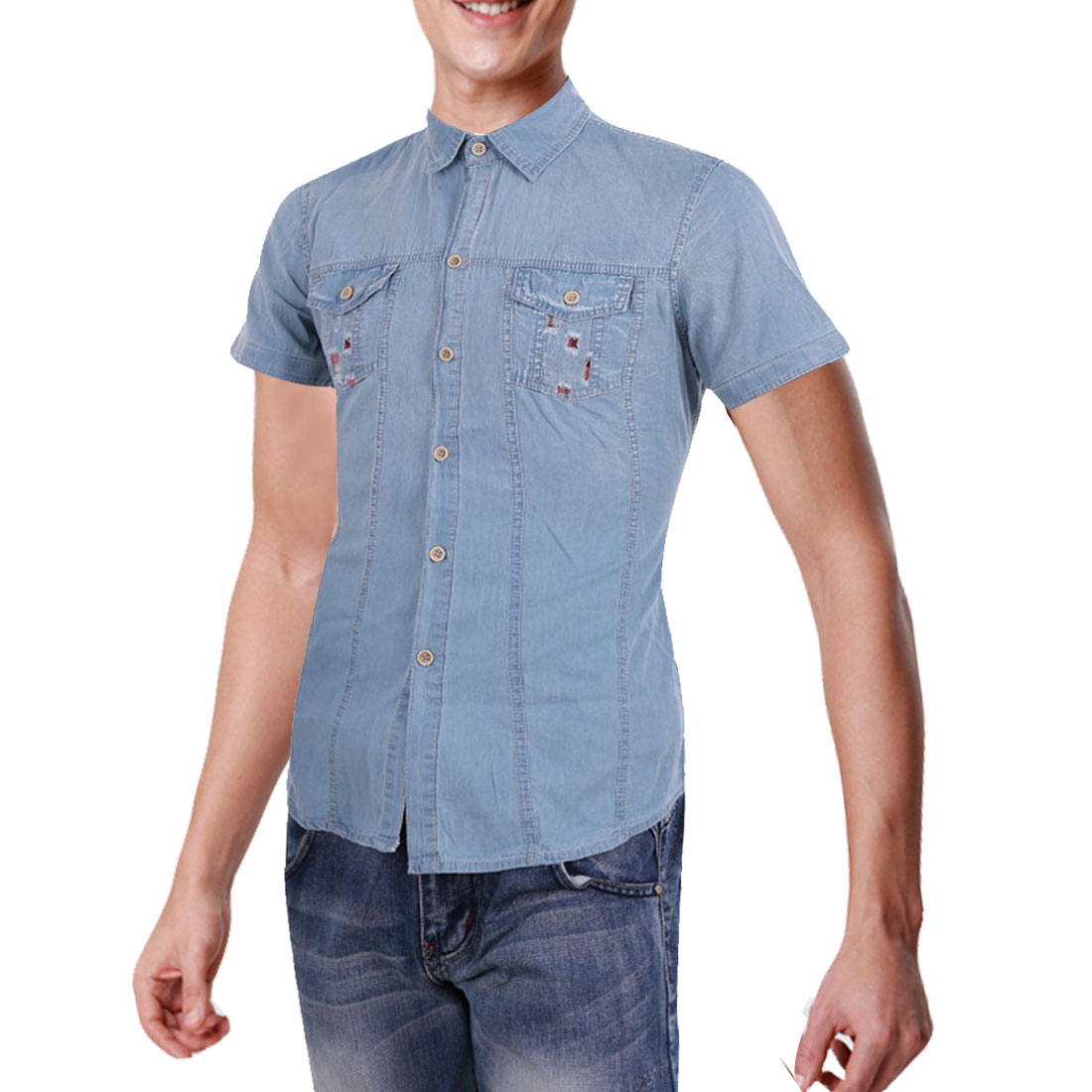 Men Chest Pockets Point Collar Short Sleeve Denim Summer Shirt M Sky Blue