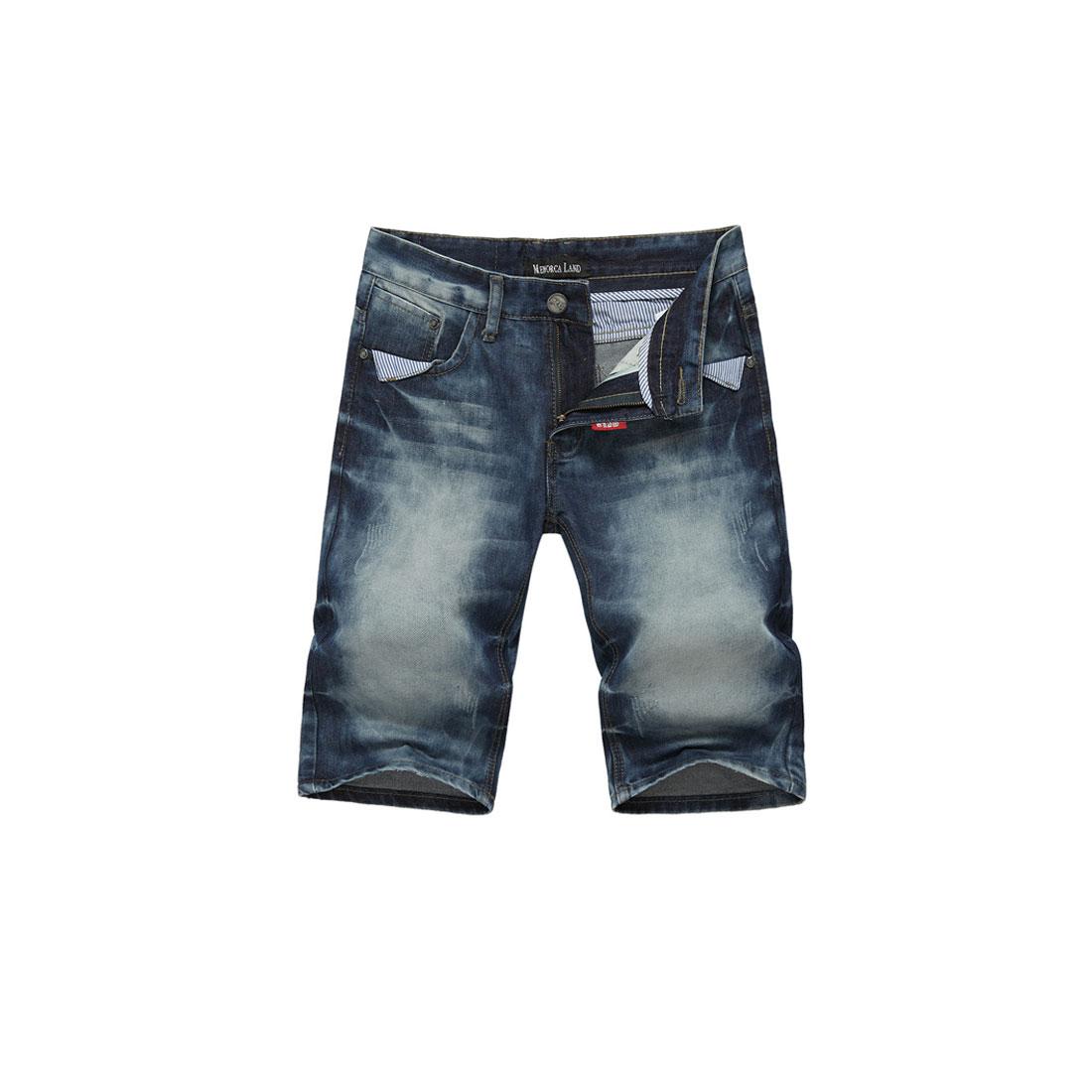 Men Button Closure Hidden Zipper Belt Loops Summer Jeans Shorts W33 Blue