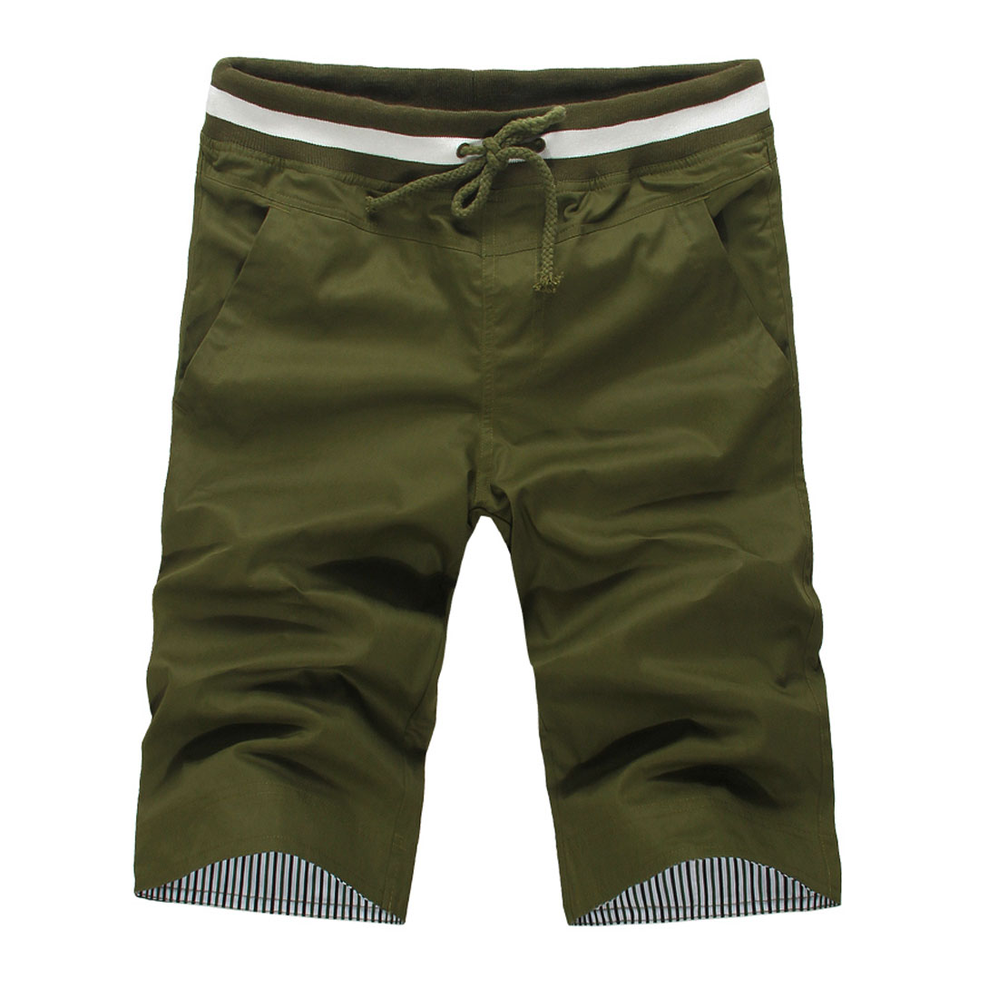 Men Big Pockets Stretchy Adjustable Drawstring Pants Army Green W31