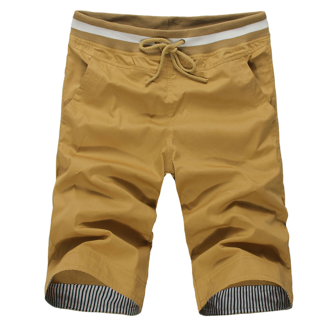 Men Elastic Waist Pockets Harem Casual Short Trousers Mustard W31