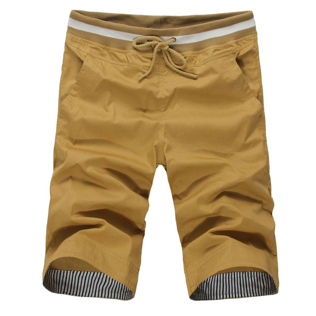 Men Elastic Waist Pockets Harem Casual Short Trousers Mustard W31