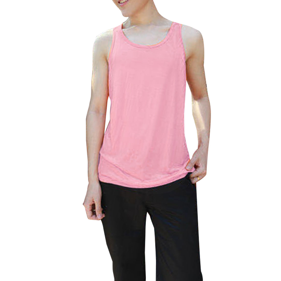 Man Sleeveless Round Neck Summer Stretchy Tank Tops Pink M