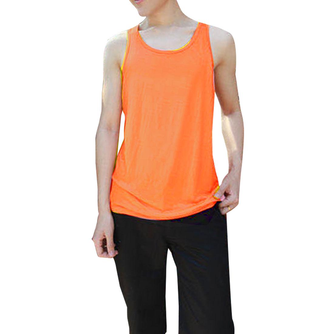 Men NEW Stylish Round Neck Sleeveless Chic Tank Tops Orange M