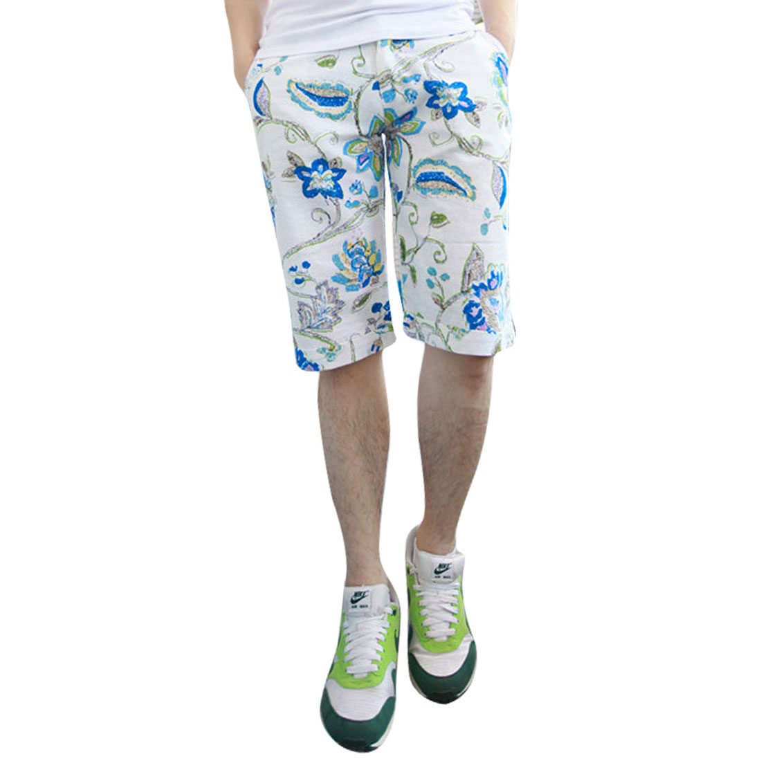 Men Zipper Fly Buttoned Floral Waistband Loop Shorts Blue W33