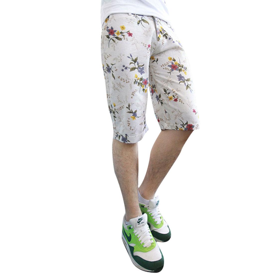 Man Hip Pockets Linen Leisure Buttoned Fashion Shorts Yellow W33