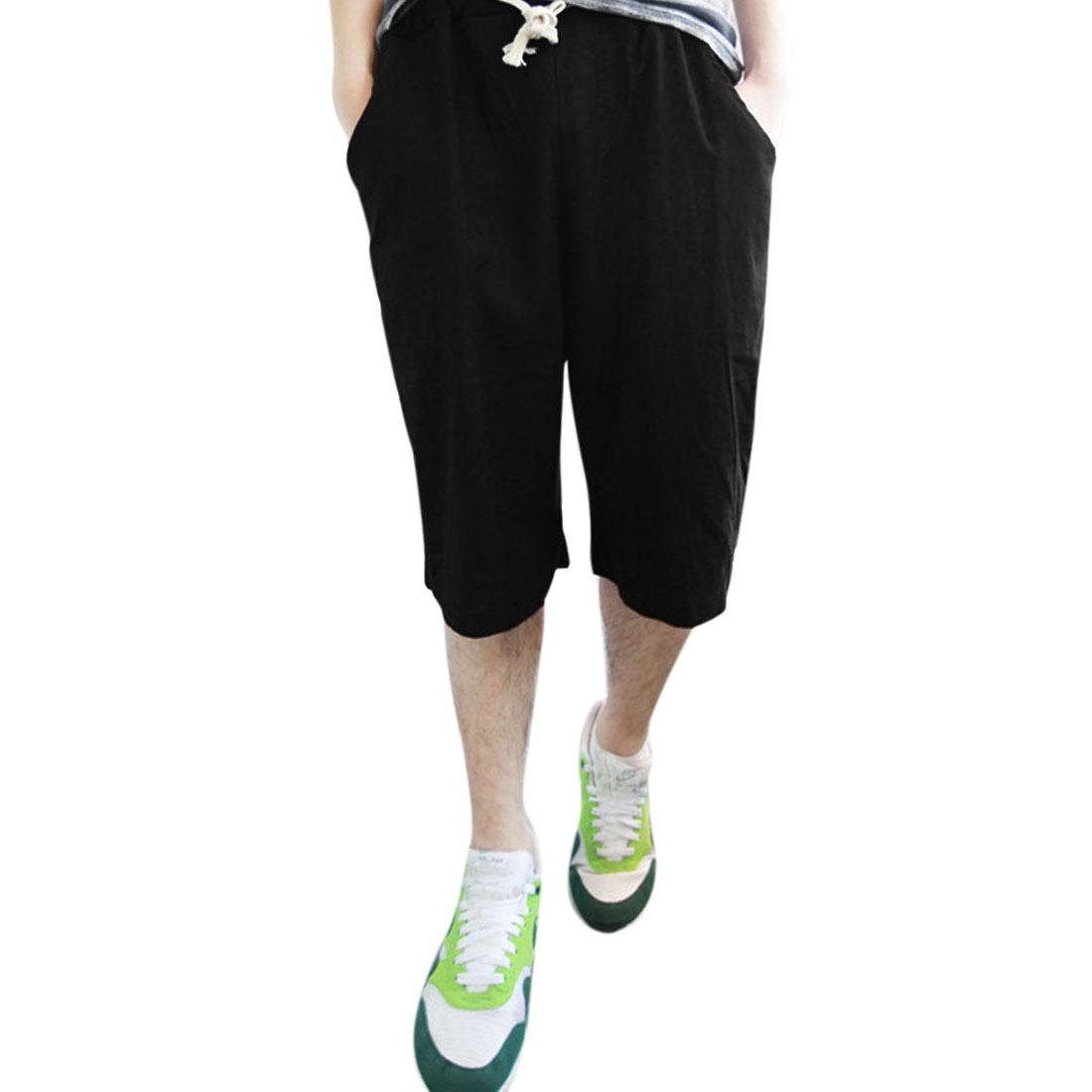 Man Slant Pockets Flax Stylish Thigh High Summer Pants Black W27