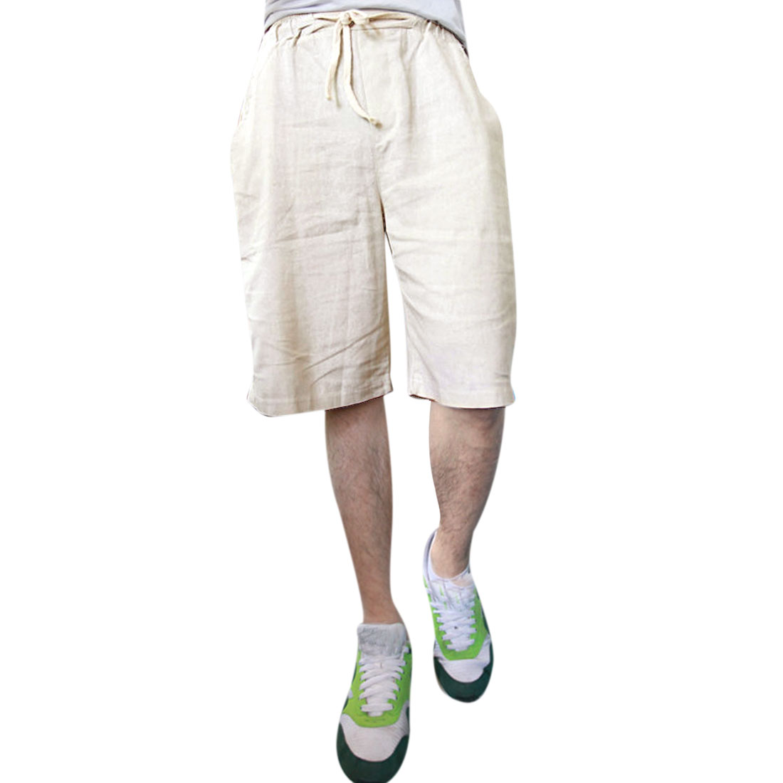 Man Drawstring Hip Pockets Linen Leisure Fashion Shorts Beige W27
