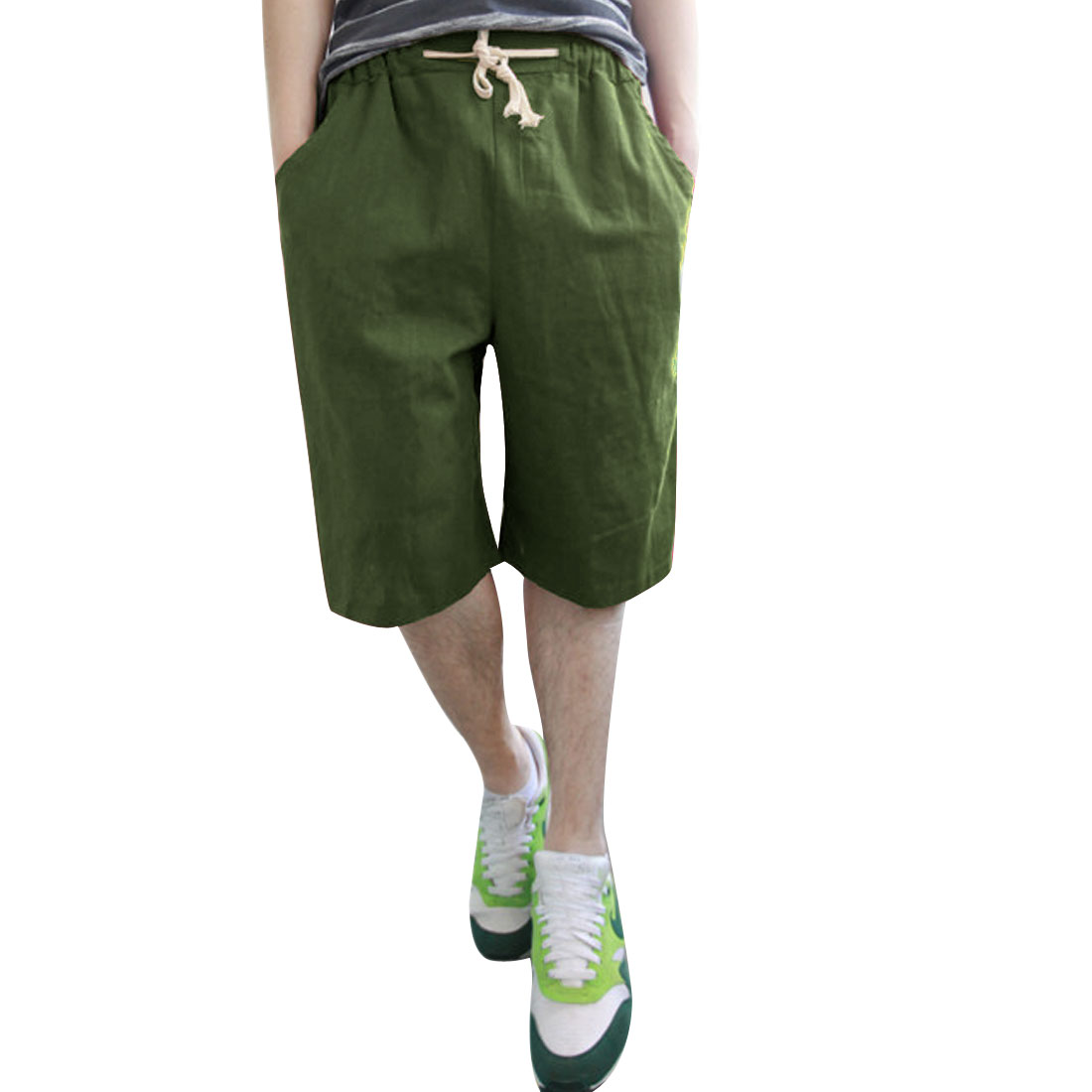 Men Linen Drawstring Elastic Waist Short Trousers Olive Green W27