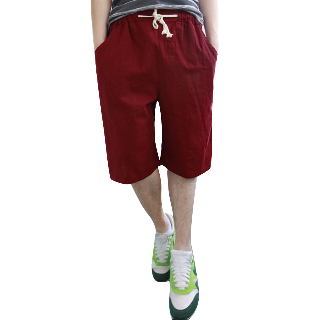 Men Above Knee Solid Color Stretchy Waist Chic Shorts Burgundy W27