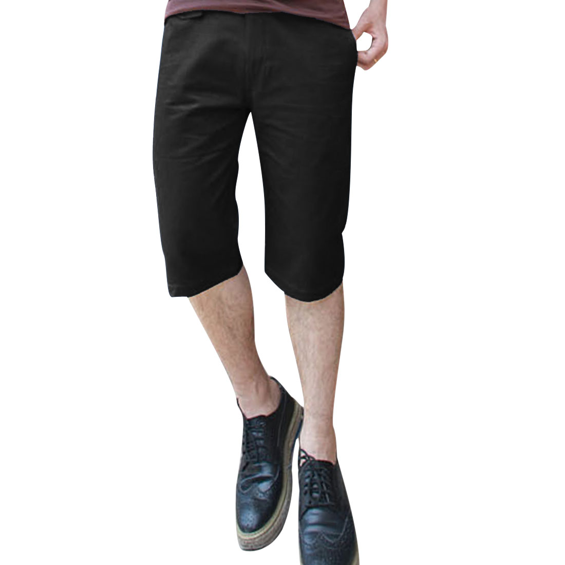 Man Hip Slant Pockets Belted Loop Fashion Shorts Trousers Black W34