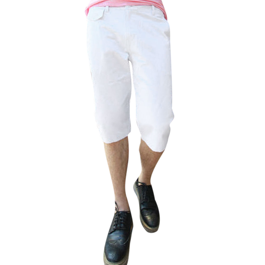 Men Zippered Fly Buttoned Closure Hip Pockets Shorts White W34