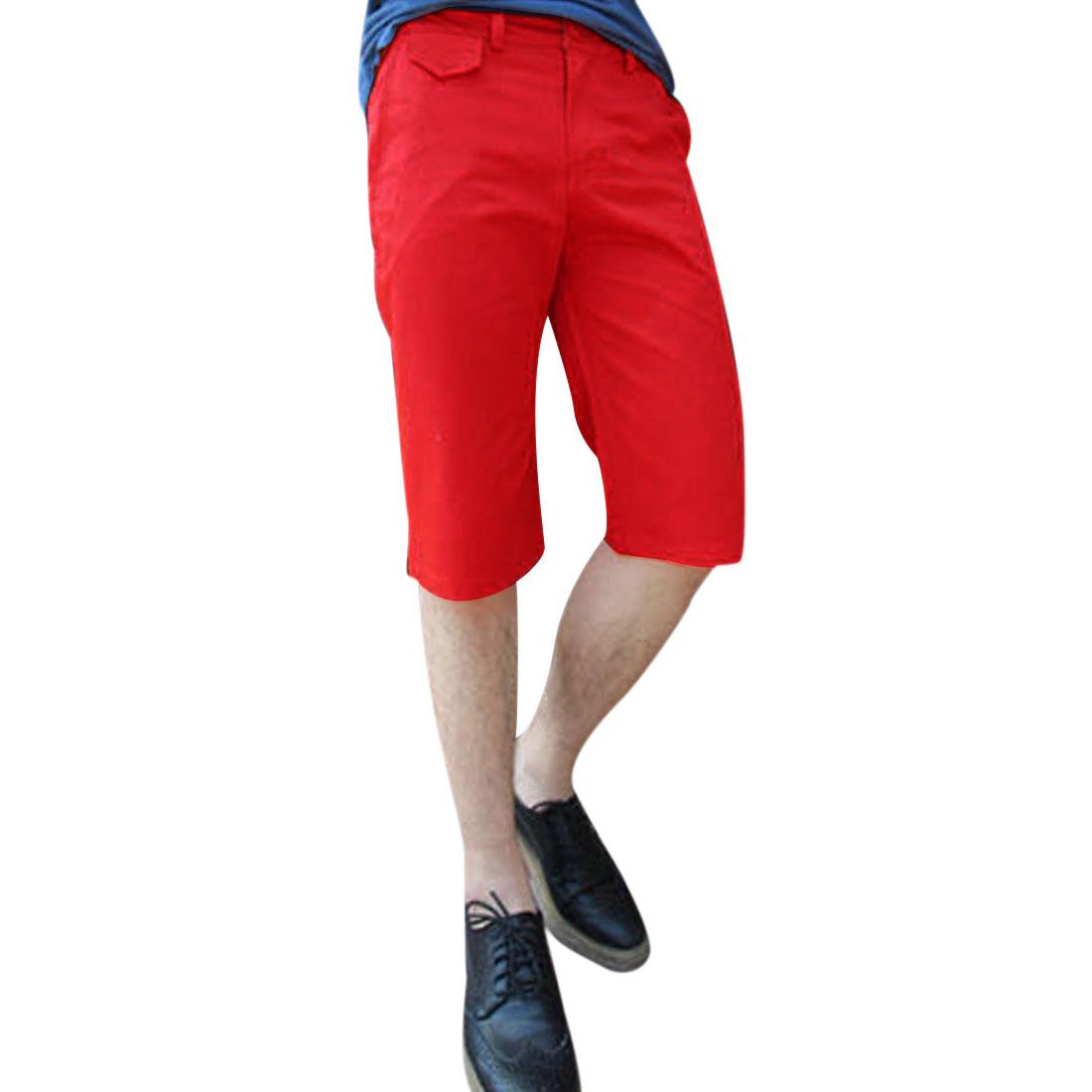 Men Zipper Fly Waistband Loop Hip Pockets Short Pants Red W34