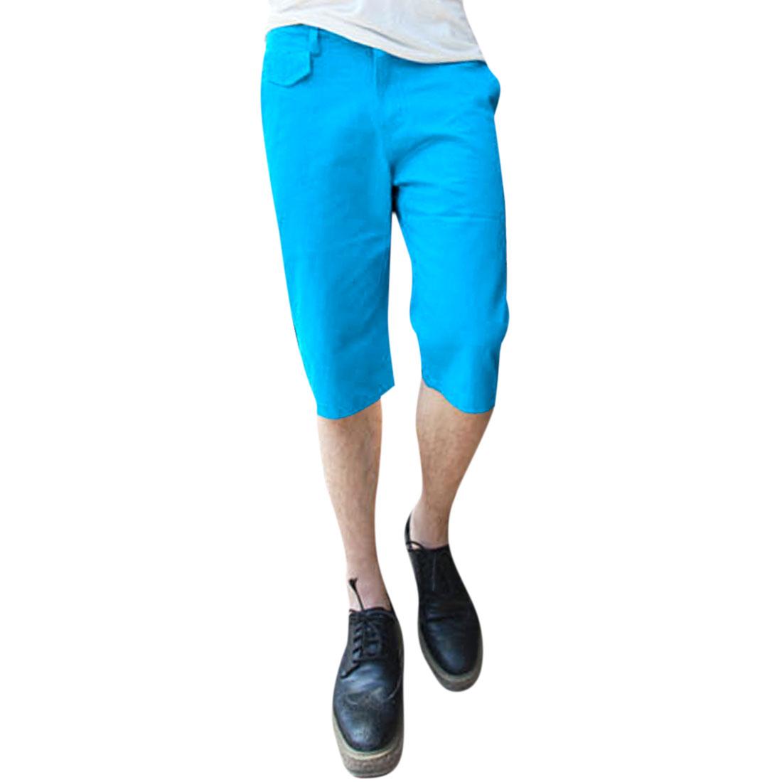 Man Slant Pockets Casual Zipper Solid Color Short Pants Cyan W34