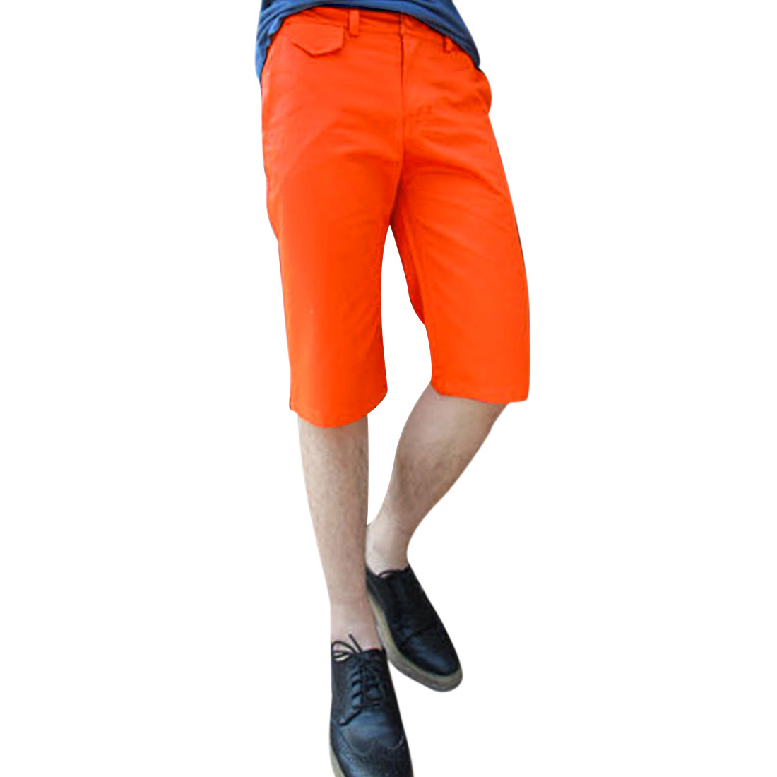 Man Slant Pockets Belted Loop Fashion Shorts Trousers Orange W34