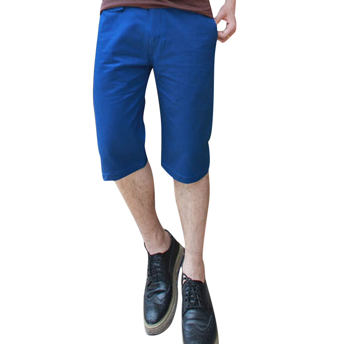 Men Up Button Front Zipper Fly Hip Pockets Shorts Royal Blue W34