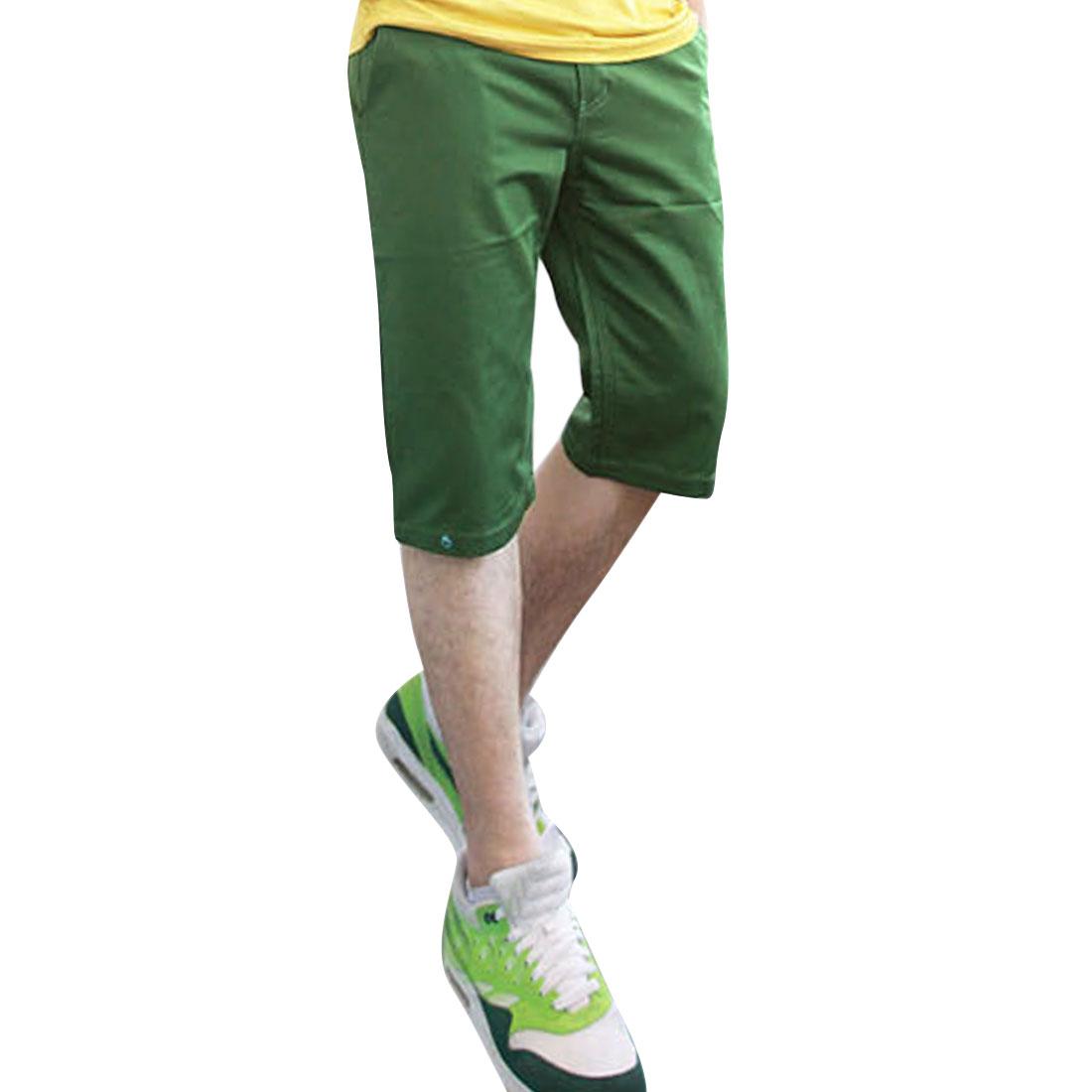 Man Slant Pockets Casual Zipper Solid Color Short Pants Green W36