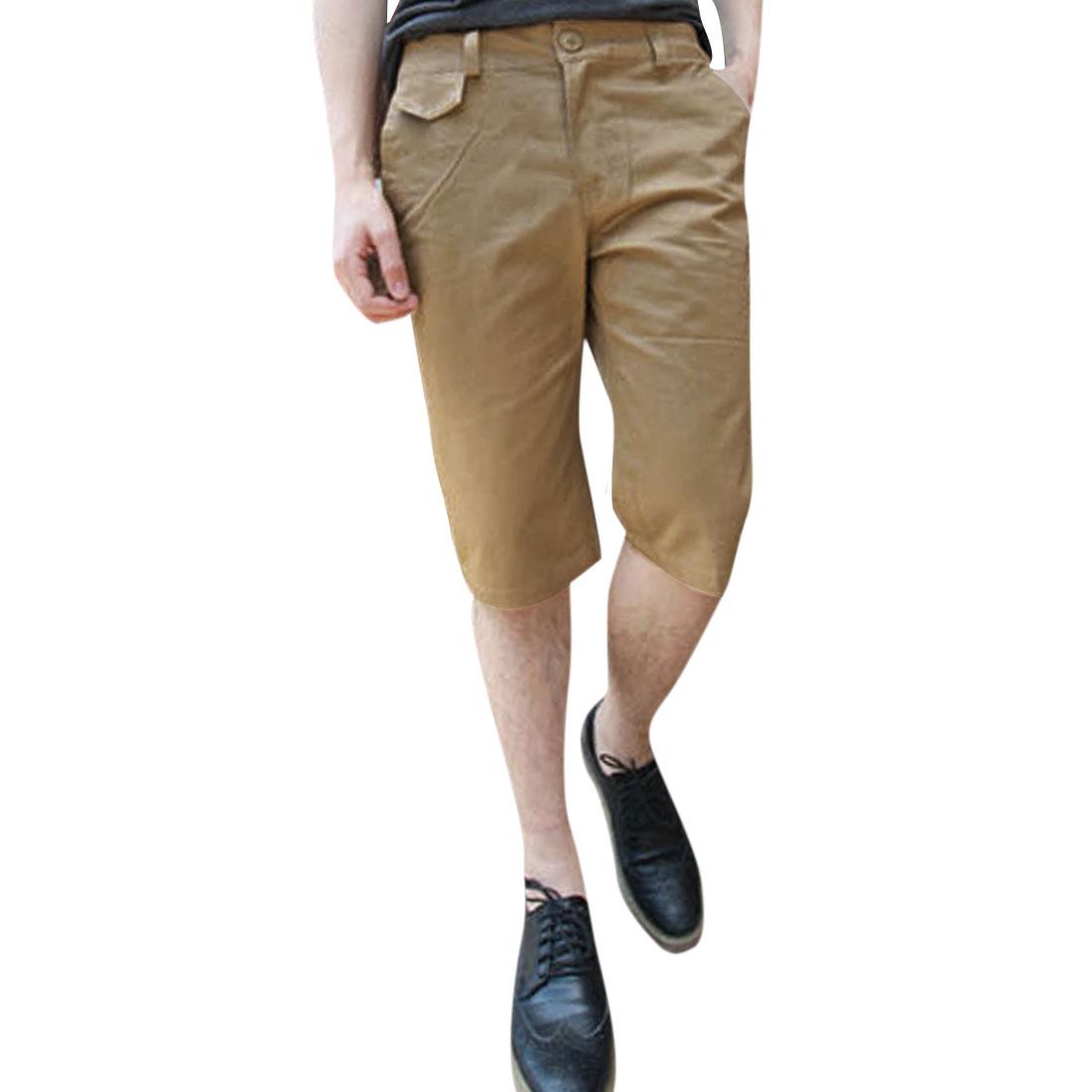Men Up Buttoned Closure Zipper Fly Hip Pockets Shorts Khaki W36