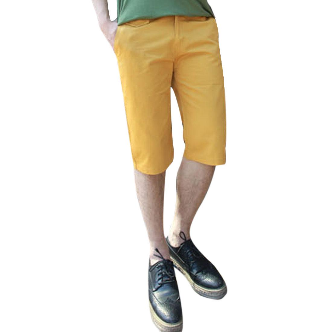 Man Stylish Slant Pockets Casual Solid Color Short Pants Yellow W36