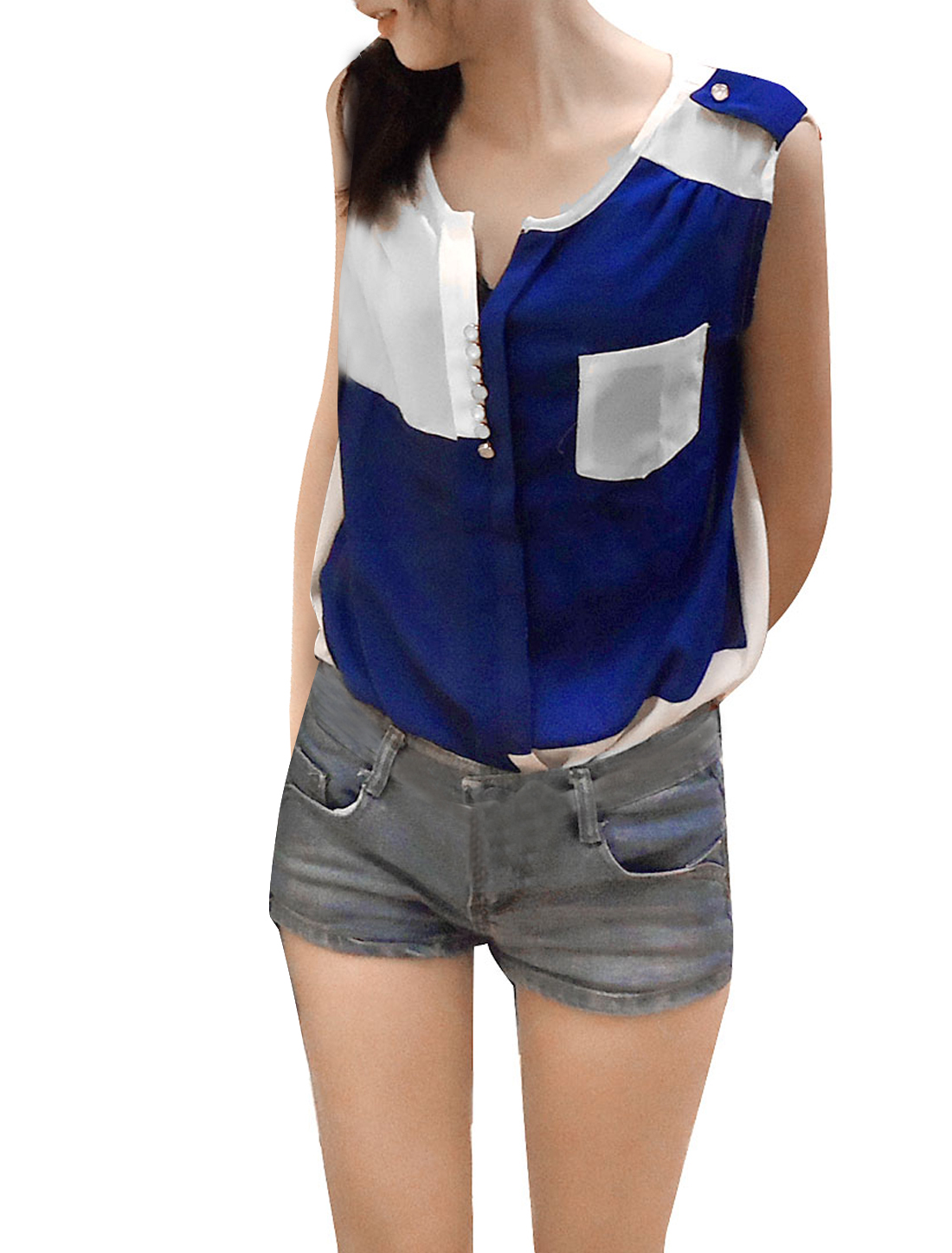 Round Hem Blue White Spliced Chiffon Tank Blouse XS + Slim Waist Belt for Woman